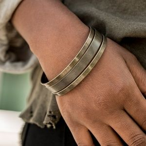 Big Mashup Textured Brass Bangle Bracelet